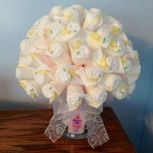 Now you are ready to wow everyone at the baby shower with your diaper bouquet!