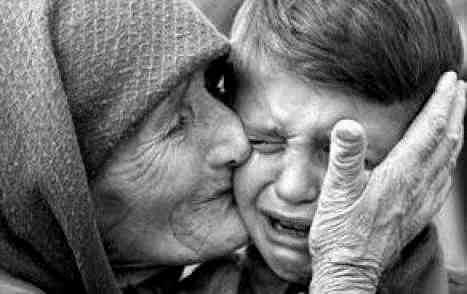 Mother and Son Crying