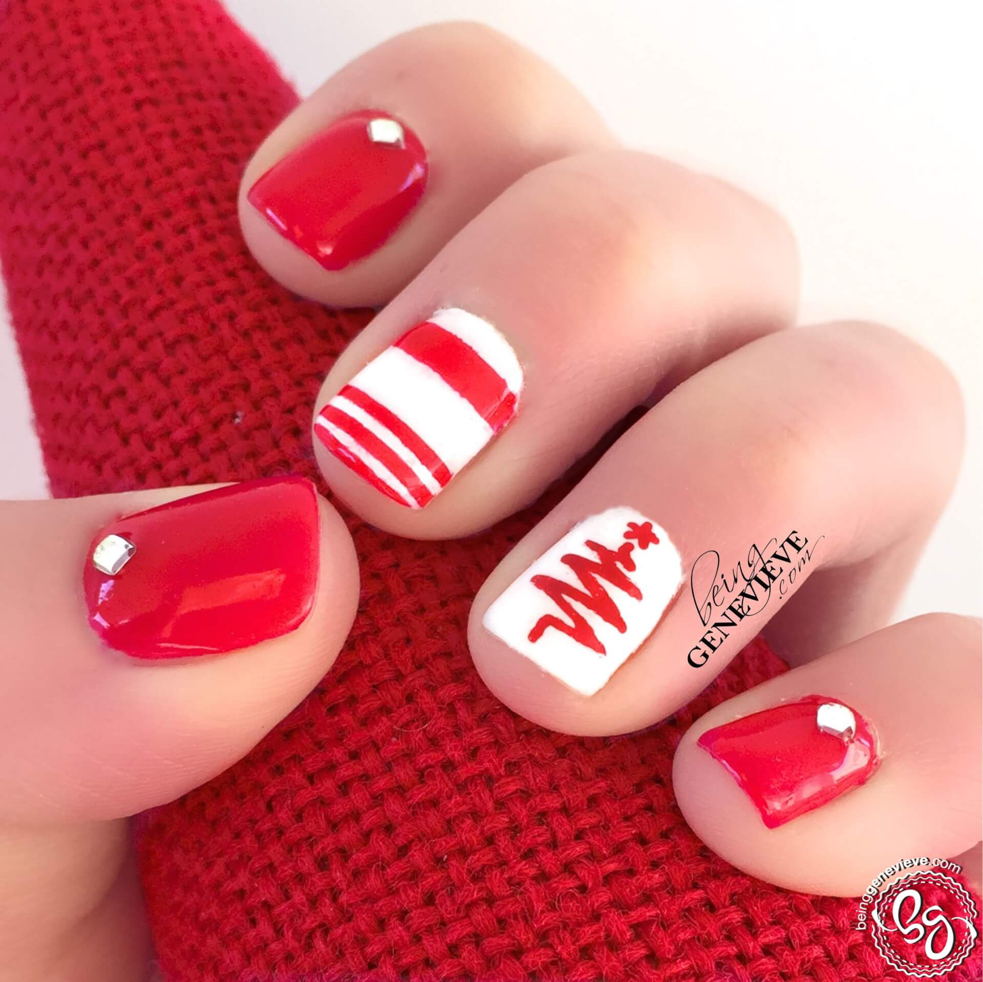 Christmas Nails Gel.Retro Red Christmas Being Genevieve